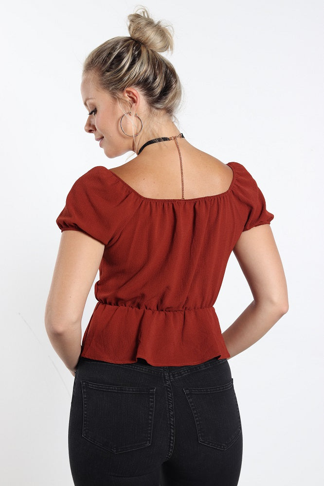 Women's Button Front Rust Color Peplum Top