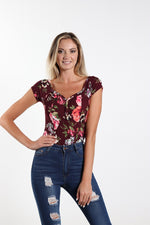 Women's Scoop Neck Burgundy Floral Bodysuit