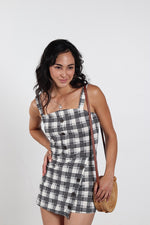 Women's Plaid Romper With Buttons Detail