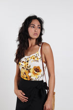 Women's White & Yellow Floral Print Square-Neck Bodysuit