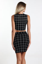 Women's Two Piece Check Crop Top & Folded Skirt