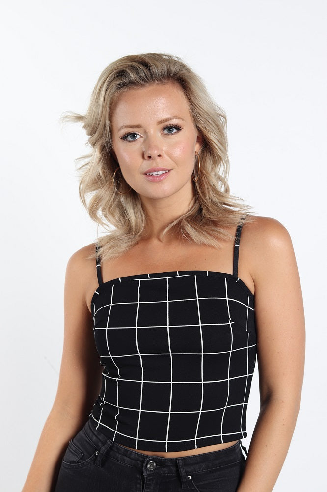 Women's Grid CAMI Crop Top
