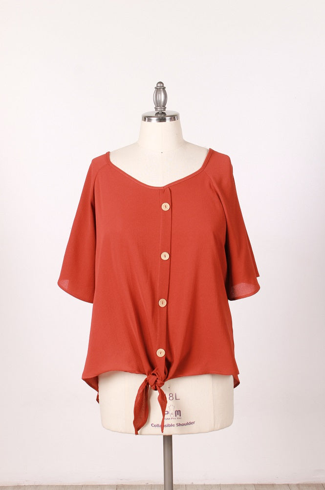 Woven Shirt RUST COLOR - Plus Size