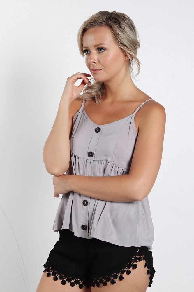 Women's Pearl Grey Loose Camisole Shirt