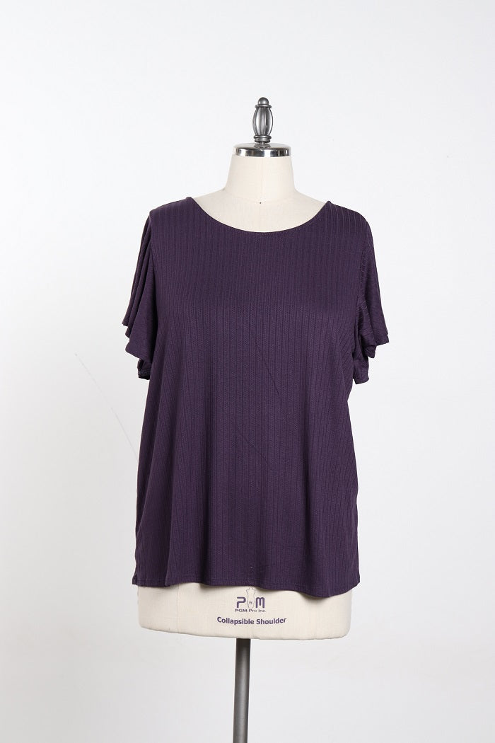 Women's Purple Basic Shirt With Back Kno