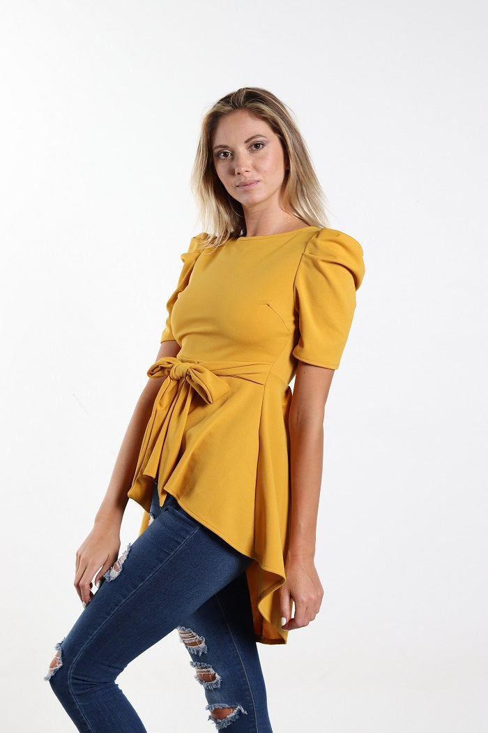 Yellow Mustard Puff Sleeve Self-Tie Belted Top
