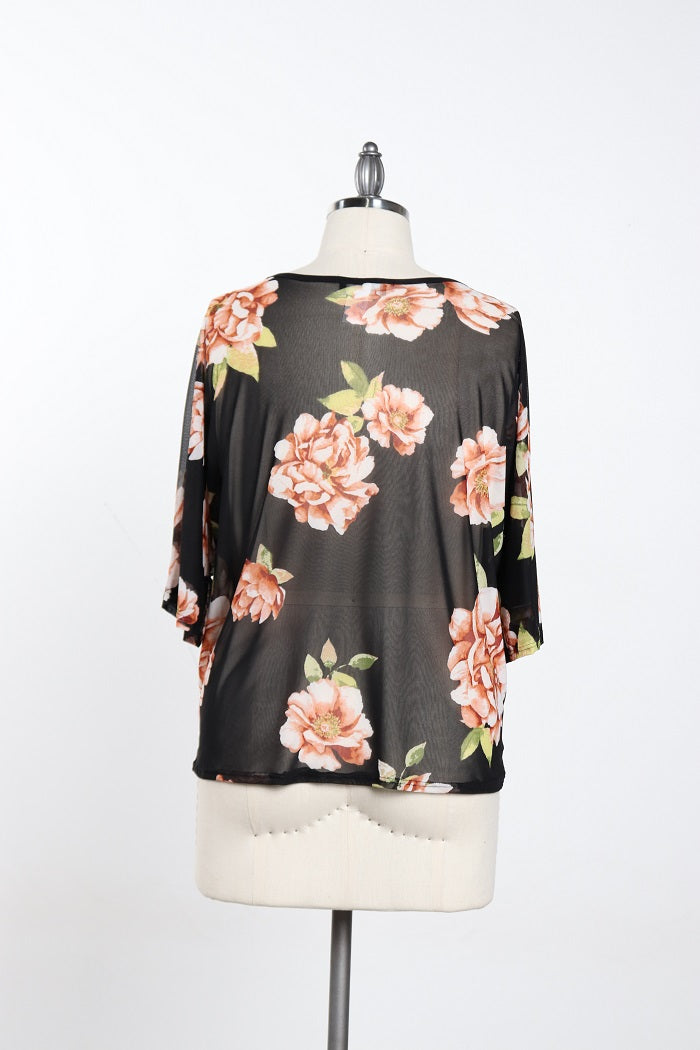 Women's Plus Size Black Flowers