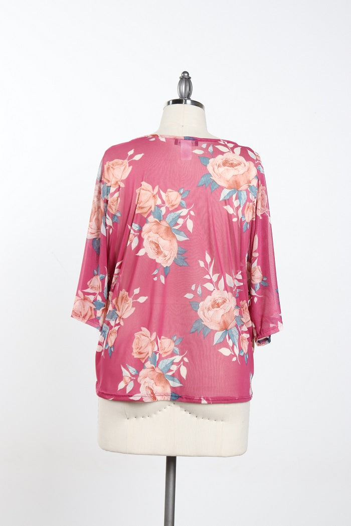 Women's Plus Size Pink Floral Blouse