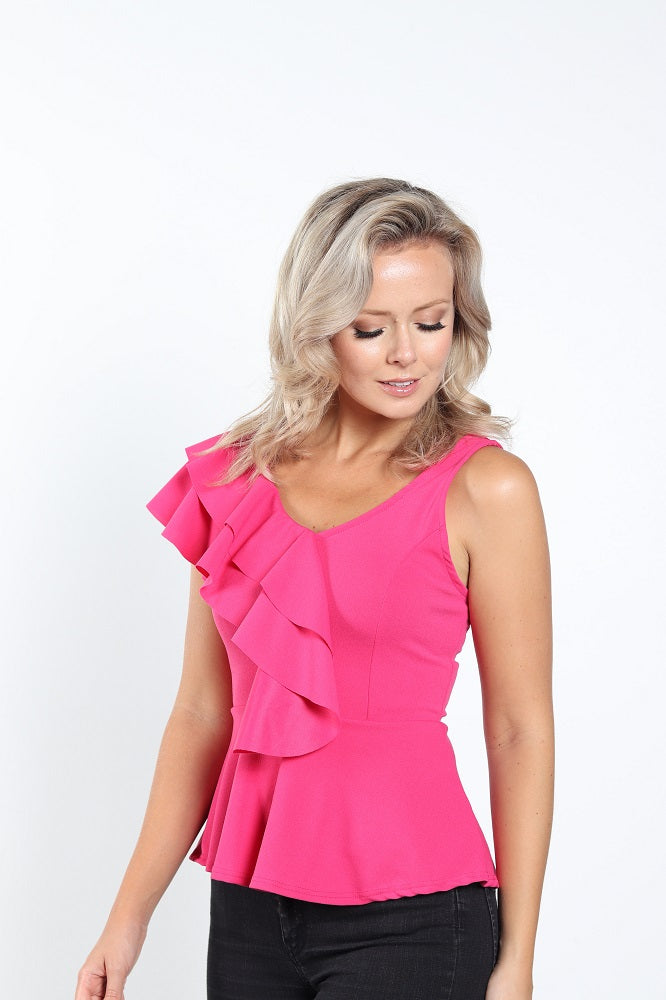 Women's Elegant Double Side Ruffle Top
