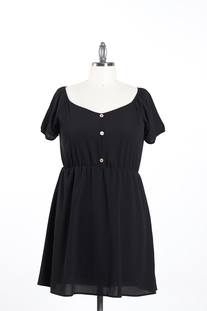 Women's Casual Dress With Buttons - Plus Size