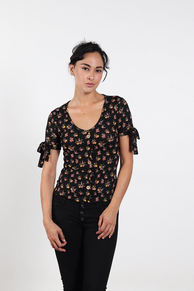 Women's Black Floral Scoop Neck Top With Front Buttons