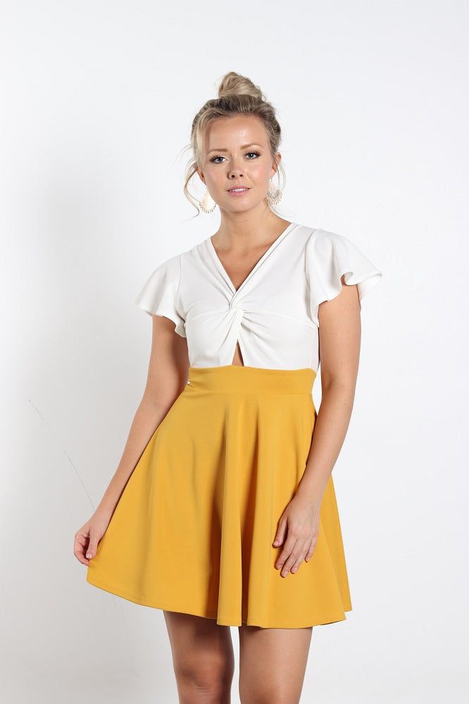 Women's White/Yellow Dress With Front Knot