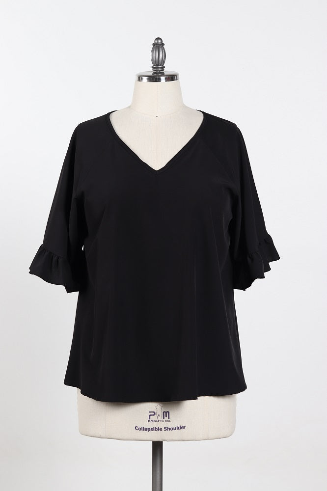 Women's Simple Black V-Neck Shirt With Ruffles Sleeves - Plus Size