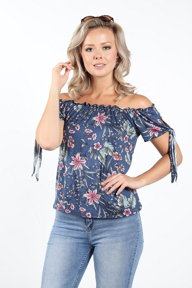 Women's Self Tie Short Sleeve Off-Shoulder Top