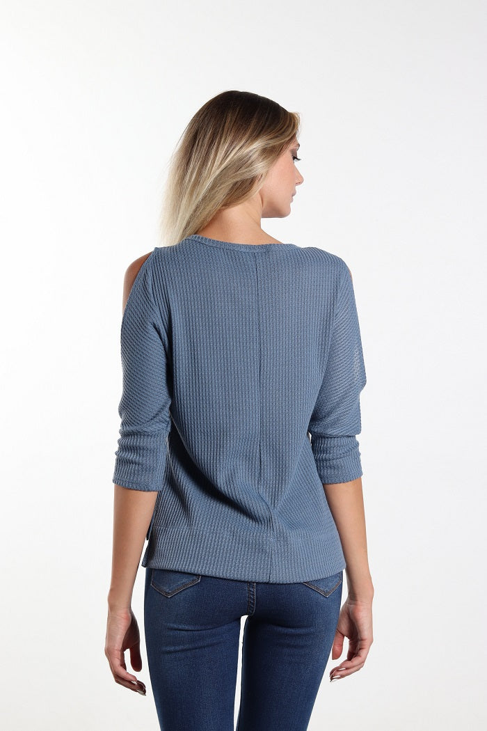 Women's Cold Shoulder Blue Top