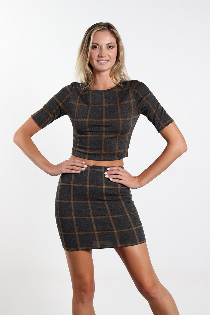 Women Two Piece Plaided Top and Skirt
