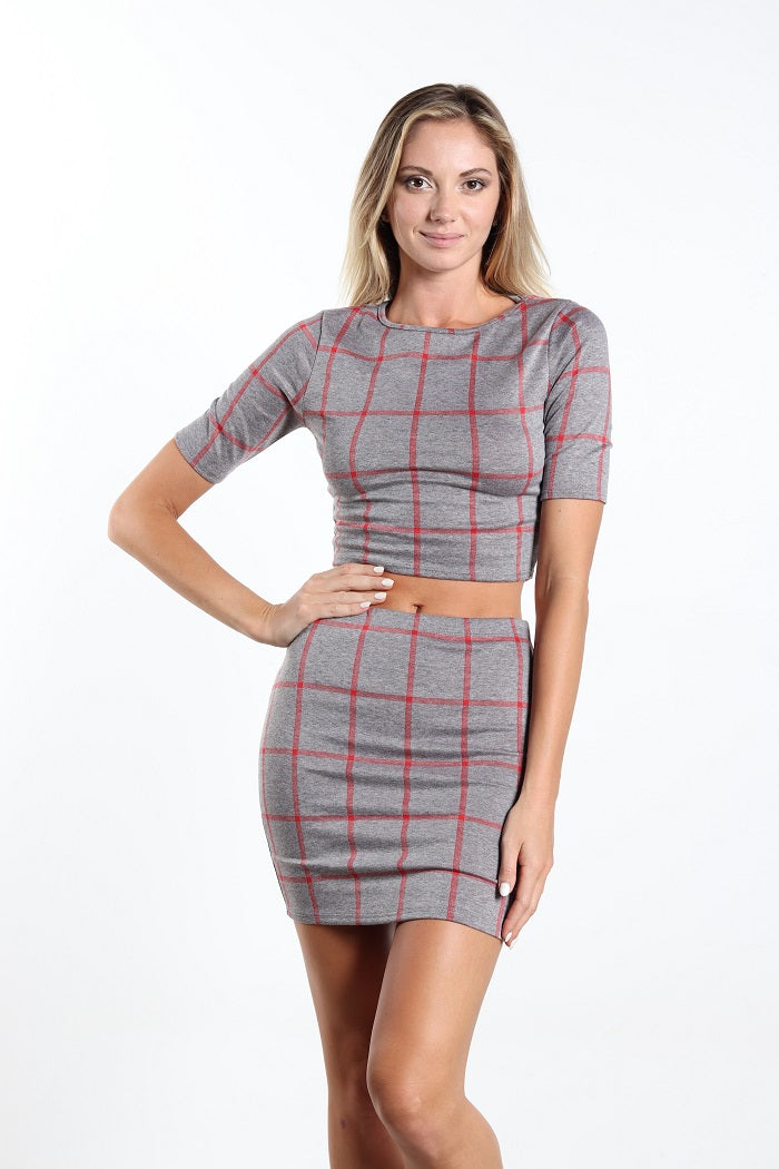 Women's two piece plaid top and skirt