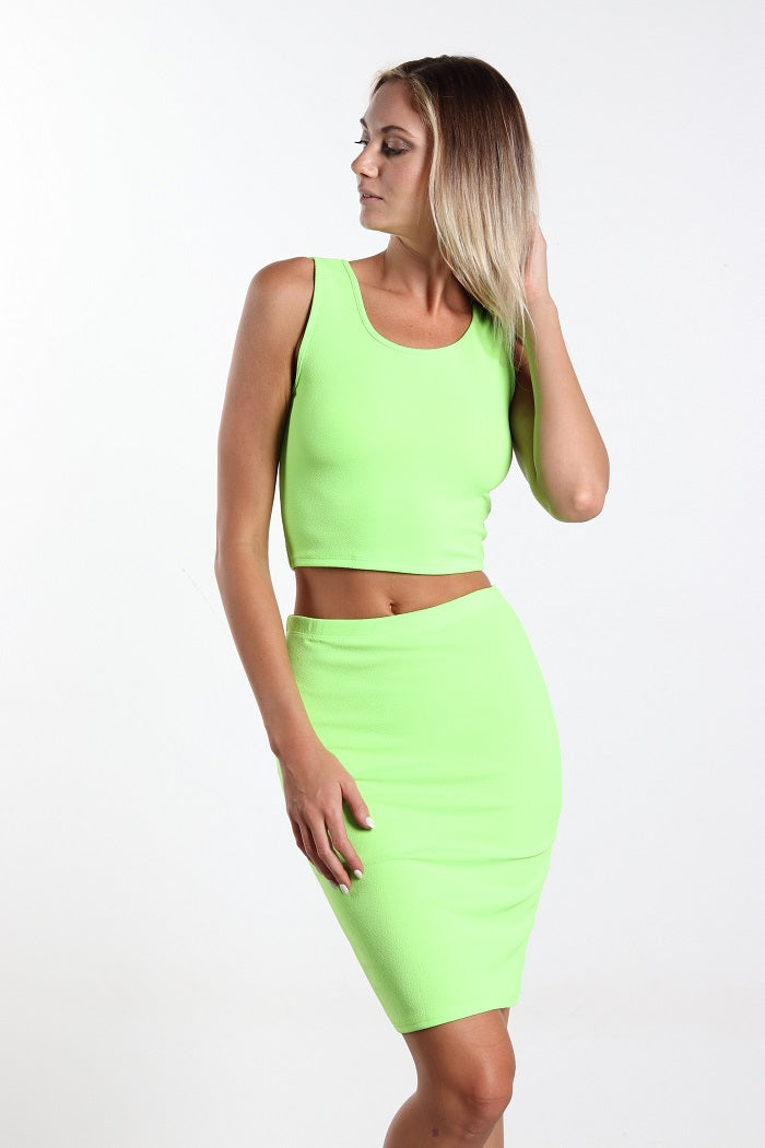 Women's Two Piece Neon Crop Top and Skirt Set