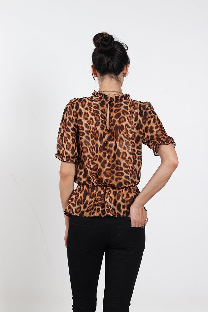 Women's Animal Print Frilled Neck Blouse
