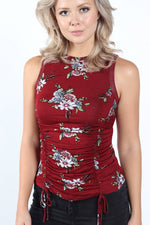 Women's Burgundy Floral Tank Top