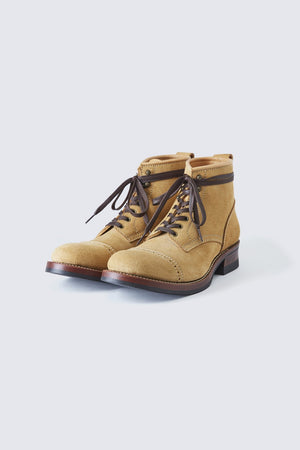 BUILT TO ORDER - AB-02C STEERHIDE SUEDE CAP TOE LACE-UP BOOTS