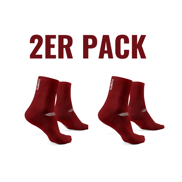 2er Pack | Performance Laufsocken  | weinrot