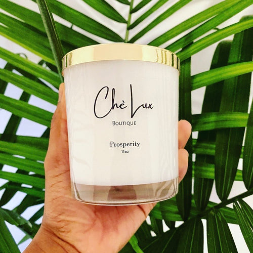 high quality luxury meditation candle coconut soy Top Note -  Lemon Crème Middle Note - Red Pomegranates, Raspberry Base Note - White Woods, Peony with white glass jar and gold metal lid