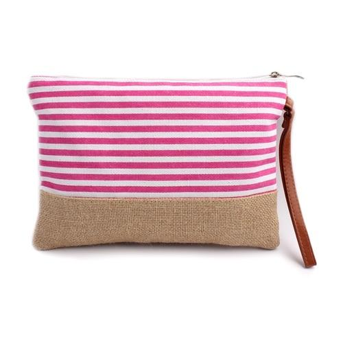 Deluxe Cosmetic Pouch Pink Stripes