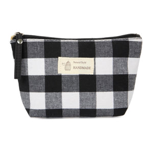 Load image into Gallery viewer, B&W Buffalo Plaid Pouch