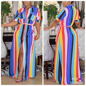 Button Up Rainbow Color Maxi Dress