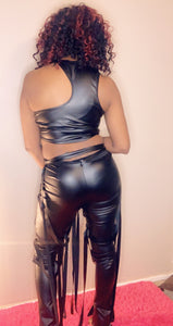 Leather Caged Pants Set