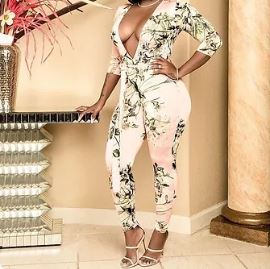Copy of Green Flower Print Jumpsuit