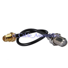 RP-SMA female jack male pin to F Jack pigtail Cable RG174 15cm for wireless