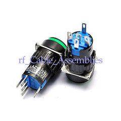 2X 5Pin Green Round N/O Momentary Lighted Illuminated Push Switch Unlock 3A 250V