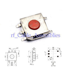 20X 5Pin 6x6x2.5mm Red Push Button SMT Tactile Switch Waterproof Coppery Head