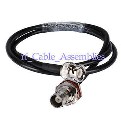 BNC male to BNC Jack female nut bulkhead crimp RG58 pigtail cable for wifi