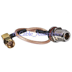 N Jack Female to RP-SMA Plug right angle male pigtail Cable RG316 15cm for wifi