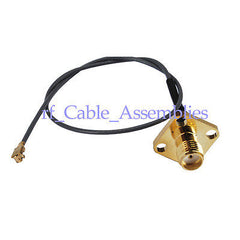 RF pigtail cable IPX / u.fl to SMA female with flange 4 hole cable 20cm 1.13