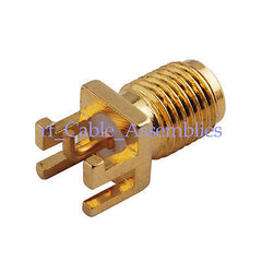 10pcs SMA female End Launch Jack PCB Mount & pin with right angle RF Connector
