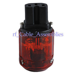 Red 125V AC IEC320 3 Pin Female Audio Connector Clear, C-046E