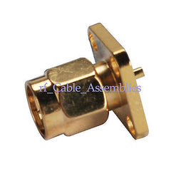 SMA 4 holes panel mount Plug solder terminal connector