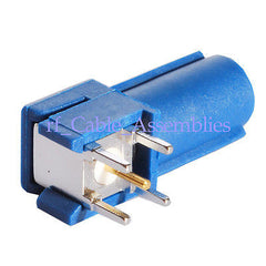 Fakra Plug PCB mount right angle Blue for GPS telematic