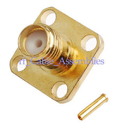 SMA female Jack Flange 4 hole RF Connector Solder for .086  Cable RG405