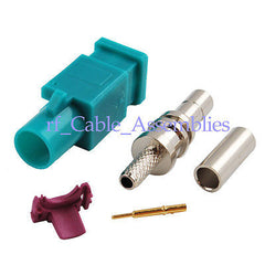 Fakra crimp male plug RF connector Waterblue /5021 Neutral coding long version