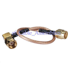 SMA Male plug to RP SMA male female right angle pigtail Coxial Cable RG316 15cm