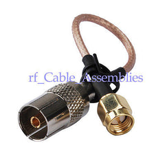 Superbat Antenna Cable IEC DVB-T TV PAL female to SMA male plug RG316 cable jumper pigtai