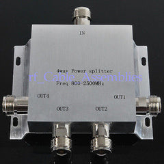 N female jack connector 800-2500MHz 4-way Power Divider 50Ω 117.4*113.5*22mm