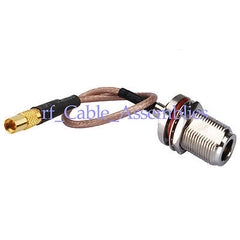 N Jack female bulkhead to MMCX Jack straight RF pigtail cable RG316 15cm WLAN