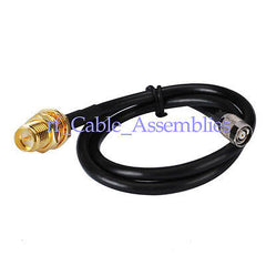 RP SMA female bulkhead to RP TNC male 3ft KSR195 low loss RF coax cable 1M WiFi
