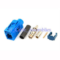 10x Fakra C female crimp Jack connector Blue GPS telematics or navigation RG316